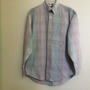 Vintage TOMMY HILFIGER green/brown plaid shirt M